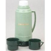 Термос РОСИНКА РОС-201 зеленый, со стеклянной колбой 1,9л, 2 чашки, материал – пластик, стекло