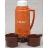 Термос РОСИНКА РОС-200 оранж, со стеклянной колбой 1,0 л, 2 чашки, материал – пластик, стекло