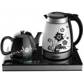 Набор для чая UNIT UEK-252 черный керамический (эл. чайник+ заварочный чайник)