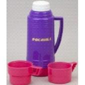 Термос РОСИНКА РОС-200 фиолет, со стеклянной колбой 1,0 л, 2 чашки, материал – пластик, стекло