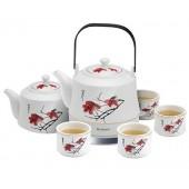 Чайный набор, керамический  Rolsen RK-1050 СRS цветок сакуры, об.1л., 1200Вт, заварочный чайник+4чашки