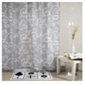 "Штора текстильная/ванны и душа  ""Белые узоры"" DSCN3059 180х200см, цв.белый/серый"