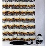 """Штора текстильная/ванны и душа """"Кения"""" DSCN3176, 180х200см., цв. белый/оранжевый/черный"""