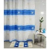 """Штора текстильная/ванны и душа """"Морской"""" DSCN3390, 180х200см, цв. белый/синий"""