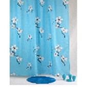 """Штора текстильная/ванны и душа """"Сакура"""" DSCN3395 , 180х200см, цв. бирюзовый/белый"""