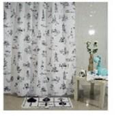 """Штора текстильная/ванны и душа """"Париж"""" DSCN3428,180х200см, цв. белый/чёрный"""