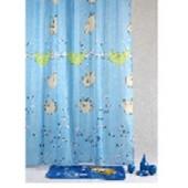 """Штора текстильная/ванны и душа """"Веселые поросята""""DSCN3526,180х200см., цв. голубой"""
