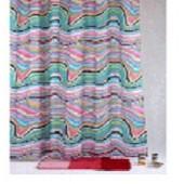 """Штора текстильная для ванны """"Космос"""" DSCN3784 180х200см,  цв. розовый/бирюзовый"""