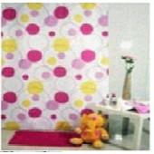 """Штора текстильная/ванны и душа  """"Разноцветные пузырьки"""" DSCN4061, 180х200см, цв.розов/желт/белый"""
