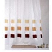 """Штора текстильная/ванны и душа  """"Квадраты"""" IMG0255,  180х200см, цв.корич/белый"""