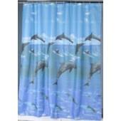 """Штора текстильная/ванны и душа """"Игра"""" 560104, 180х200см, цв. синий/бирюзовый с изображением дельфино"""