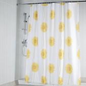 """Штора текстильная/ванны и душа  """"Одуванчики"""" DSCN3732 , 180х200см, цв.желтый/белый"""