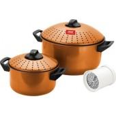 Набор кастрюль для спагетти CALVE CL-1125, 5 пр., углеродистая сталь, мет. кр., пласт. руч,  с теркой для сыра