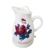 Чайник керамический Вел.Реки Малиновка-17, термический рисунок роза, 1,5 л, 1,4 л полезный объем, 1350 Вт