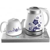 Набор для чая UNIT UEK-252 белый керамический (эл. чайник+ заварочный чайник)