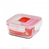 Стеклянный контейнер Oursson CG-0801S/TR прозрачный , с красной окантовкой_прямоугольный